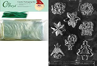 Cybrtrayd MdK25G-C020 Assorted with Star Christmas Chocolate Mold with Packaging Kit, Includes 25 Cello Bags and 25 Green ...