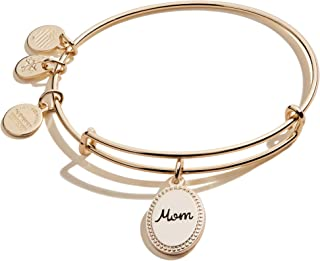Alex and Ani Because I Love You Mom Expandable Wire Bangle Bracelet for Women, Bonded by Love Charm, 2 to 3.5 in