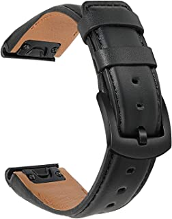 TRUMiRR Watchband for Fenix 6/6 Pro/6 Sapphire/5/5 Plus, 22mm Quick Release Easy Fit Watch Band Genuine Cowhide Leather St...