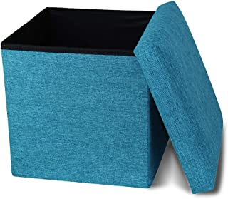 Storage Ottoman Cube Folding Ottomans with Storage Foot Rest Stool Seat Foldable Storage Ottoman Square Toy Chest Padded with Memory Foam Lid Sofa for Space Saving 11.8x11.8x11.8 inch, Turquois