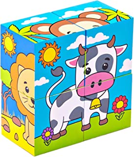 Animal Wooden Puzzle for Preschool Kids 2 Years Old and Up by Bimi Boo (Set of 6 Learning 4 Block Pieces Toddler Puzzles, Solid Wood Construction)