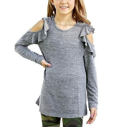 b93da636cf620 GRAPENT Girls  Casual Long Sleeve Shirt Cold Shoulder Tunic Top Blouse