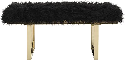 Safavieh Home Collection Maia Glam Black Faux Sheepskin and Brass Bench