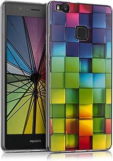 kwmobile Funda para Huawei P9 Lite - Carcasa de TPU para móvil y diseño de Cubos de Colores Verde/Azul