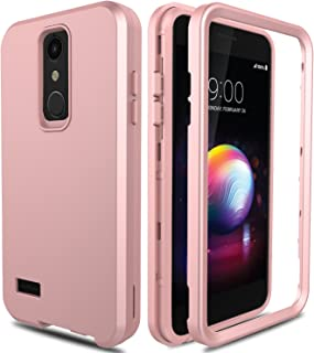 AMENQ LG K30 Case, LG Premier Pro Case L413DL, LG Phoenix Plus/Xpression Plus Case, 3 in 1 Heavy Duty Protection Shockproof Silicone Rubber Shell Scratch Resistant PC Armor Phone Cover (Rose Gold)
