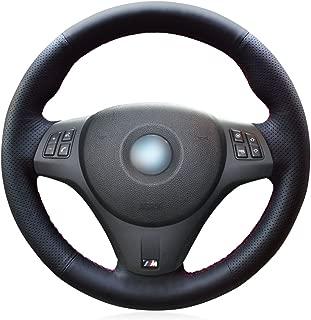 MEWANT DIY Customized Hand Stitch Black Genuine Leather Black Suede Car Steering Wheel Cover for BMW 1 Series E81 E82 E87 E88 2008-2013/3 Series E90 E91 E92 E93 2006-2011 / M3 E90 E92 E93 2008-2013