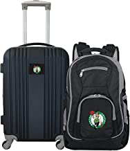 """Denco Boston Celtics 2-Piece Luggage Set, Includes 21-inch Two-Tone Hardcase Spinner and 19"""" Laptop Backpack"""