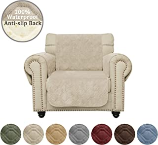 Ameritex Waterproof Chair Cover Coral Fleece Furniture Protector Anti-slip Updated Pattern Supper Soft and Warm Pet Sofa Cover for Dogs and Children (Beige, Chair)