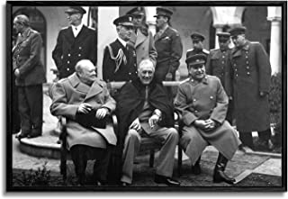 artprints1stop Floating Frame Canvas Print Wall Art - Classic WW II Vintage Photo Yalta Conference, 1945 (Churchill, Roose...