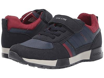 Geox Kids Jr Alfier 7 (Big Kid) (Navy/Red) Boys Shoes