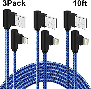 Right Angle iPhone Charger 10 FT Braided Lightning Cable 90 Degree 3 Pack Charging & Syncing Cord Compatible with iPhone/X...