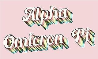 Alpha Omicron Pi - Sorority Letter Flag (Retro Design)