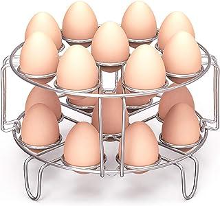 Estante para cocinar huevos, Packism Steaming Rack Fit 6,8Qt Instant Pot Accesorios Freidora Ninja Foodi, Cook 18 huevos, Salvamanteles de cocina apilable al vapor, accesorios para olla a presión