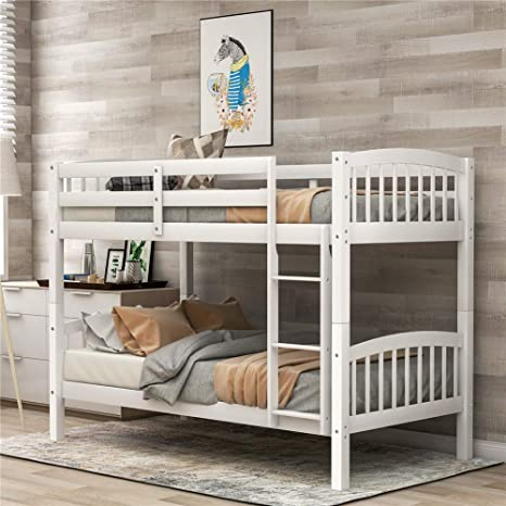 Amazon Com Twin Over Twin Bunk Beds Convertible Into Two Individual Solid Wood Beds Children Twin Sleeping Bedroom Furniture Ladder And Safety Rail For Kids Boys Girl Easy Assembly White Kitchen