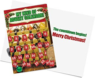 Humor Christmas Cards with 5 x 7 Envelopes - Funny Parody, Printed Paper Greeting Card with Funny Picture of Advent Calendar - It's NOT an Actual Wine-Rack (Box of 12 Funny Stationery Notes) B2535XSG