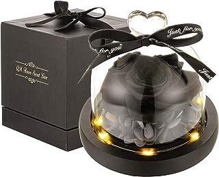 LED付きプレゼント花、ギフト用花 ガラスギフトボックス入り、母の日、記念日プレゼント、結婚式、バレンタイン、彼女への最高の贈り物 誕生日プレゼント結婚式 飾り ハートガラスポット ブラック