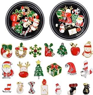 3D Christmas Nail Art,20pcs Diamond Charms Rhinestones Gems Alloy Nails Glitter,DIY Christmas Holiday Nail Art Sticker Decoration,Santa Snowflake Snowman Reindeer Tree Bell Nails Accessories