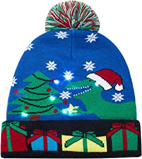 Uideazone Light-up Knitted Ugly Sweater Cap Cartoon Pattern Christmas Light Hat for Party Lightshow