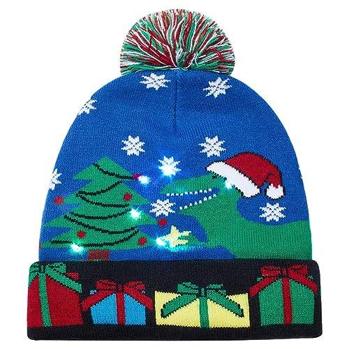 4b0c187cee9 Goodstoworld LED Knit Christmas Cartoon Hats Womens Mens for Festival Party