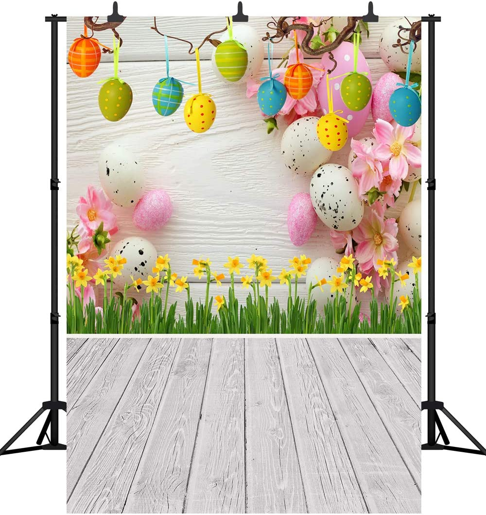 DePhoto 6X9FT Spring Easter Backdrop Wooden Financial sales sale Eggs Gifts Wall Par