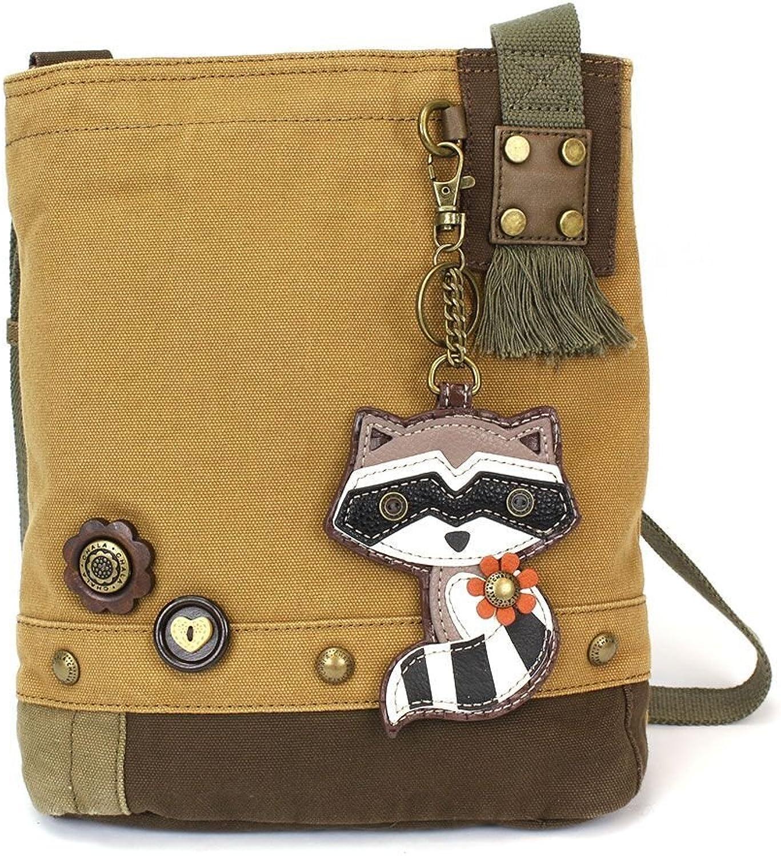 Chala Patch Crossbody Bag, Brown, Raccoon