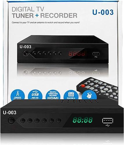 UBISHENG Digital TV Converter Box, 1080P ATSC Converters with PVR Recording&Playback, HDMI Output, Timer Setting LED ...