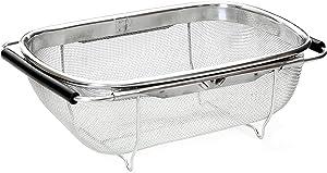 HOJKMA Over the Sink Colander, 4 Quart Stainless Steel Expandable Oval Strainer Basket Colander with Rubber Grip Handles Fine Mesh Colander for Kitchen Sink, Strain, Drain, Rinse Fruits, Vegetables