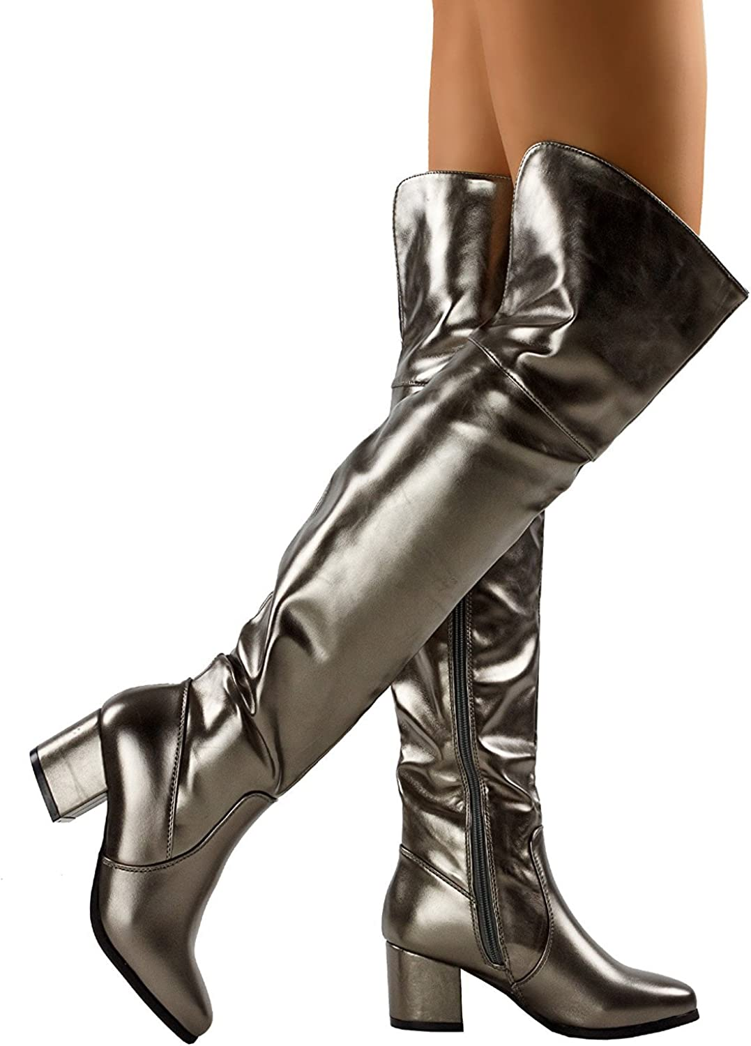 ShoBeautiful Women Thigh High Riding Boot Trendy Cuff Almond Toe Chunky Block Heel Over The Knee Boots by (TM)