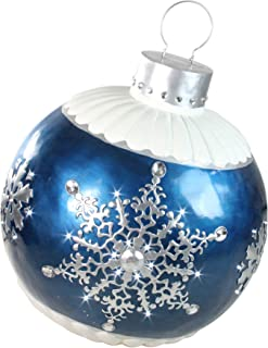 """Northlight 37"""" LED Lighted Blue Ball Christmas Ornament with Snowflake Outdoor Decoration"""