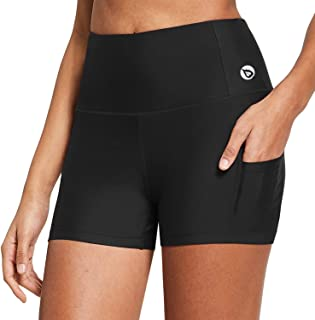BALEAF Women's High Waist 3 Inches Compression Spandex Workout Running Yoga Volleyball Shorts Back Zipper Pocket
