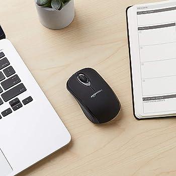 AmazonBasics Wireless Computer Mouse with USB Nano Receiver - Black