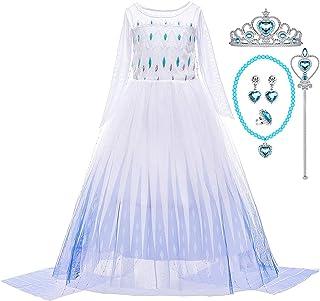 G.C Girls Elsa Princess Dress Frozen Costume White Halloween Cosplay Party Dress up