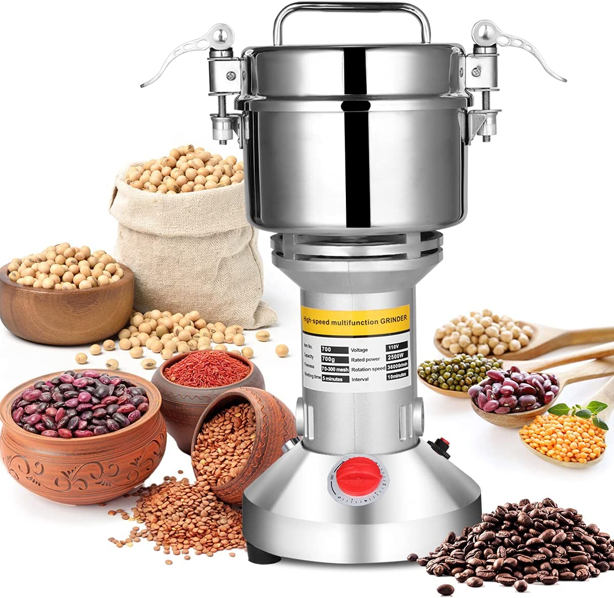 Max 81% OFF Max 61% OFF AILIXI 700g Grain Mill Grinder Electric Speed High Stainl 2500W