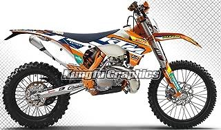 Kungfu Graphics Custom Decal Kit for 125 200 250 300 350 450 500 EXC EXC-F XCW XC-W XCF-W 2014 2015, White Orange