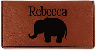 Baby Elephant Leatherette Checkbook Holder - Double Sided (Personalized)
