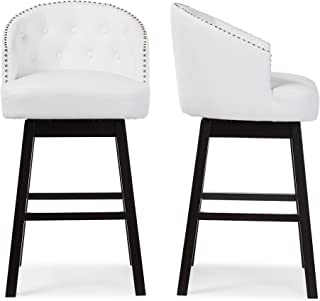 Baxton Studio Bar Stool 2-Piece Set, White