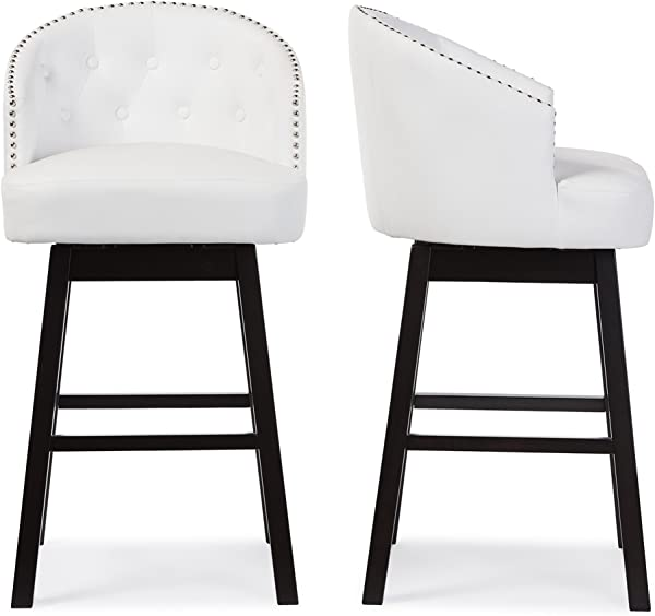Baxton Studio BBT5210A1 BS White Bar Stool 2 Piece Set White