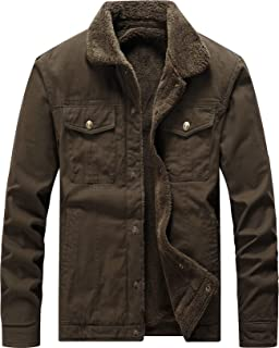 Men's Classic Cotton Fleece Lined Windproof Jacket Coat Military Style Outerwear