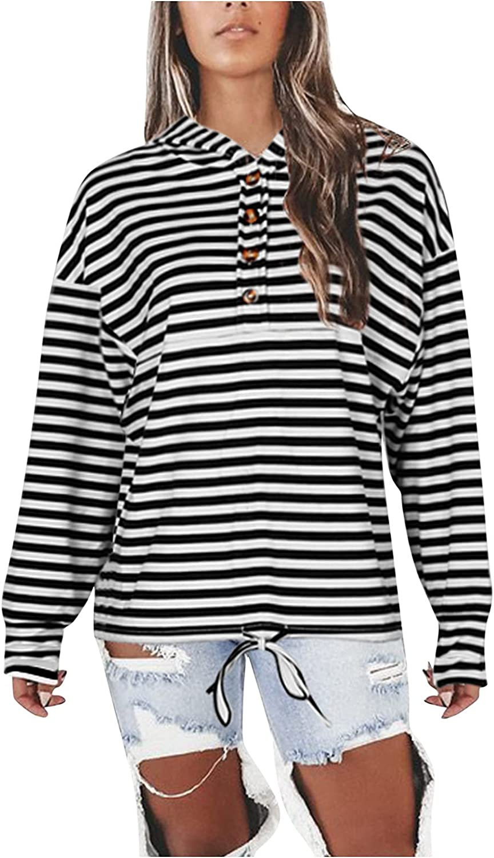 WOCACHI Fall Fashionable Hoodies For Womens Long Free shipping Button-down 2021 Striped S
