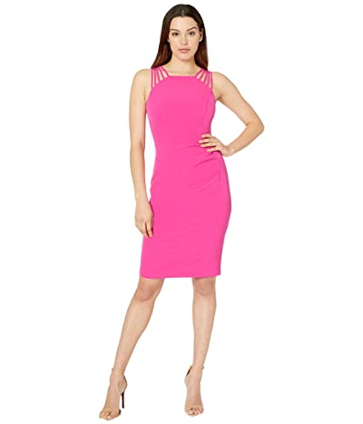Vince Camuto Sleeveless Halter Neck with Details at the Shoulder (Hot Pink) Women