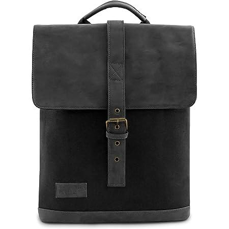 THE OZZERS Rucksack für Damen und Herren - Daypack aus veganen Leder und wasserabweisender Baumwolle - Schulrucksack mit Tablet- und Laptopfach - Wanderrucksack mit bequemer Rückenpolsterung