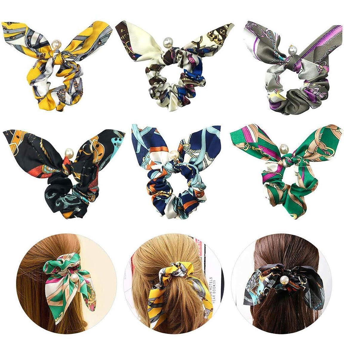 大量固有の許す6個ヘアバンド ヘアバンドヘアバンド弾性ヘアバンド蝶ネクタイパールエレガントな美しい髪の弓 (多色)