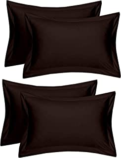 Rj Products Cotton 144 TC Pillow Cover, King, Brown, 4 Pieces