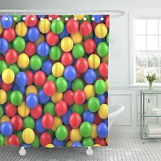 Semtomn Decorative Shower Curtain Bubblegum Dry Children Pool Colorful Plastic Balls Gum Pit 66