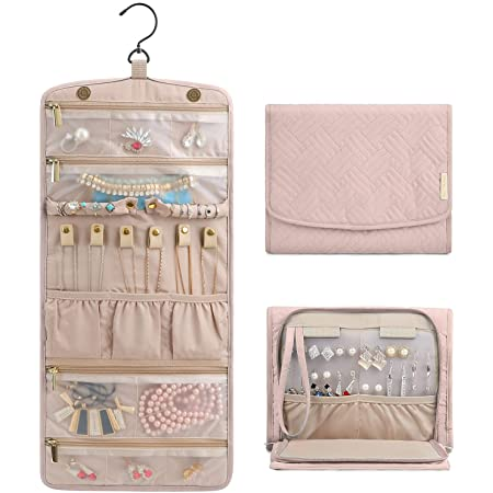 BAGSMART Travel Hanging Jewelry Organizer Case Foldable Jewelry Roll with Hanger for Journey-Rings, Necklaces, Bracelets, Earrings, Soft Pink