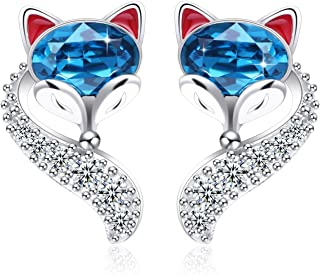 S925 Sterling Silver Fox Animal Stud Earring Tail High Polish Plain with Crystals from Swarovski for Women Girl Dainty Teal Jewelry Gift Anniversary Wife Birthday