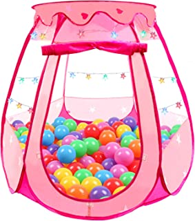 Tikolus Pop Up Princess Tent for Girls, Toddler Girl Toys Kids Ball Pit with Colorful Star Lights, Foldable Kids Play Tent with Carrying Bag, Indoor&Outdoor 1 Year Old Girl Gift (Balls Not Included)
