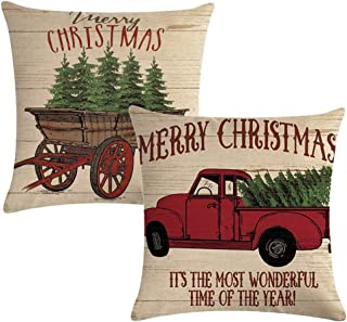 7ColorRoom Set of 2 Christmas Decorative Pillow Covers with Christmas Tree and Vintage Red Truck Pattern Cushion Cover Merry Christmas Home Décor Pillowcases 18