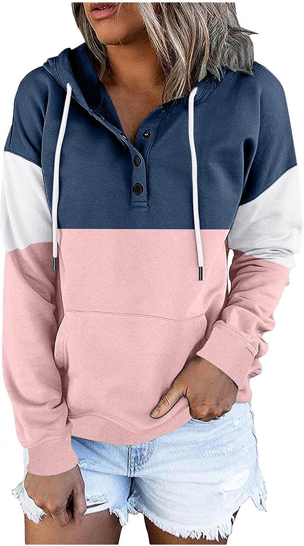 NEEKEY Women Basic Hoodies Long Sleeve Color Block Hooded Sweatshirt Round Neck Hoodies Drawstring Shirt Blouse with Pocket
