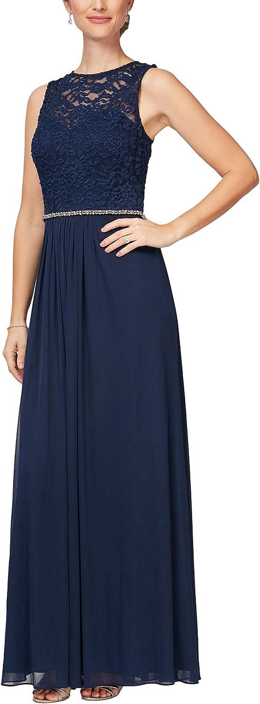Alex Evenings Women's Long Sleeveless A-Line Dress
